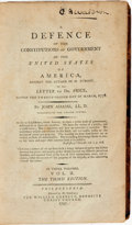 Books:Americana & American History, [U.S. Presidents]. John Adams. A Defence of the Constitutions ofGovernment of the United States of America, Against the...