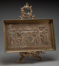 Fine Art - Sculpture, European:Antique (Pre 1900), After Michel Claude Clodion (French, 1738-1814). FeastBearers. Bronze relief with decorative easel. 11-3/4 x 19inches ... (Total: 2 Items)