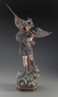 Decorative Arts, Continental:Other , A Silvered and Polychromed Wooden Figure: Saint Michael,20th century. 28 inches high (71.1 cm). PROPERTY FROM...