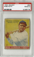 Baseball Cards:Singles (1930-1939), 1933 Goudey Babe Ruth #53 PSA Good 2. The yellow Babe Ruth #53 from the classic '33 Goudey set is clearly the toughest of t...