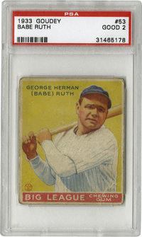 1933 Goudey Babe Ruth #53 PSA Good 2. The yellow Babe Ruth #53 from the classic '33 Goudey set is clearly the toughest o...