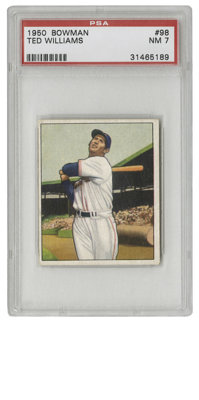1950 Bowman Ted Williams #98 PSA NM 7. The Splendid Splinter is featured here in a glorious image of him taking a swing...