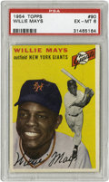 Baseball Cards:Singles (1950-1959), 1954 Topps Willie Mays #90 PSA EX-MT 6. Fresh off his stint with the U.S Army in the Korean War, a jubilant Mays is depicte...