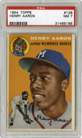 Baseball Cards:Singles (1950-1959), 1954 Topps Henry Aaron #128 PSA NM 7. This tremendous Aaron rookie, the only recognized one of baseball's home run king, ex...