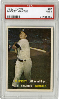 1957 Topps Mickey Mantle #95 PSA NM 7. High-quality image of the Mick taking a cut, the NM grade card here depicts the H...