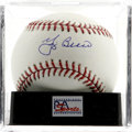 Autographs:Baseballs, Yogi Berra Single Signed Baseball, PSA Mint+ 9.5. Exceptional sweetspot signature from the Hall of Fame New York Yankees c...