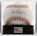 Autographs:Baseballs, Al Lopez Single Signed Baseball, PSA NM-MT 8. Stunning 9/10 sweetspot signature has been applied to this OAL (Brown) baseb...
