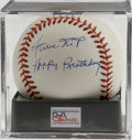 "Autographs:Baseballs, Willie Mays Single Signed ""Happy Birthday"" Baseball, PSA NM-MT+8.5. The Say Hey Kid gives us this OML ball adorned with a ..."