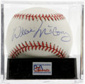 Autographs:Baseballs, Willie McCovey Single Signed Baseball, PSA NM-MT+ 8.5. A gorgeoussweet spot signature from the 500 Home Run Club star of t...