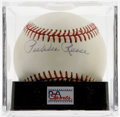 Autographs:Baseballs, Pee Wee Reese Single Signed Baseball, PSA NM 7. Famous Dodgershortstop Pee Wee Reese was scrappy yet upstanding individual...
