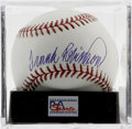 Autographs:Baseballs, Frank Robinson Single Signed Baseball, PSA Mint+ 9.5. A gorgeoussweet spot signature from the HOF outfielder whose long li...