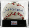 Autographs:Baseballs, Ted Williams Single Signed Baseball, PSA NM-MT 8. The Greatest Hitter that Ever Lived, and a U.S. Marines fighter pilot to ...