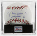 Autographs:Baseballs, Maury Wills Single Signed Baseball, PSA Gem Mint 10. The OML balloffered here is adorned with an excellent sweet spot sign...
