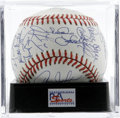 Autographs:Baseballs, 1989 New York Mets Team Signed Baseball, PSA Mint 9. Thirty blueink signatures fill every inch of an ONL (White) ball, wit...