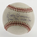 Autographs:Baseballs, Bobby Brown Single Signed Baseball. American League President from1984-1994 Bobby Brown has adorned the OML baseball offer...