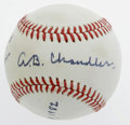 Autographs:Baseballs, 1982 A.B. Chandler Single Signed Baseball from The Ricky and BruceCollection. Flawless 10/10 inscription on an ONL (Feeney...