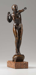 Fine Art - Sculpture, American:Modern (1900 - 1949), Malvina Hoffman (American, 1887-1966). Standing Female Nude, circa 1920. Bronze with brown patina. 12 inches (30.5 cm). ...