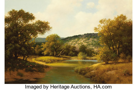 R. D. ENRIGHT ( b. 1921)Untitled Texas Hill Country River and LandscapeOil on canvas24 x 36 inches (61.0 x 91.4 cm...