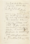 """Autographs:Military Figures, Confederate Major General John B. Magruder Autograph Letter Signed, """"J. Bankhead Magruder,"""" one page, 5"""" x 8.25"""", New Yo... (Total: 1 Item)"""