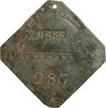 Antiques:Black Americana, 1836 Charleston SERVANT Slave Hire Badge. Number 287. ...