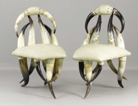 A Pair of Horn Side Chairs Unknown maker, American Late 19th centuryAnimal horn and upholstery Unmarked 32 inche