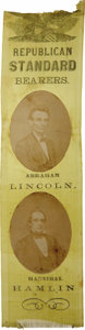 Political:Ribbons & Badges, Lincoln & Hamlin: A Superb 1860 Jugate Campaign Ribbon....