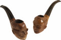 Antiques:Decorative Americana, Franklin D. Roosevelt and Harry S. Truman Character Pipes....(Total: 2 Items)