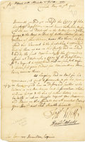 """Autographs:Military Figures, Colonial Autograph Letter Signed Regarding Murder of Indians, from Francis West and Hermann Alricks, one page, 7"""" x 12"""", Car..."""
