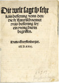 "Books:Non-American Editions, Early Reformation Tract in German, by Hans Greffynberger, sixpages, 5"" x 7"", n. p., 1523, later paper wraps. Lutheran doctr..."