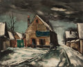 Fine Art - Work on Paper:Print, Maurice de Vlaminck (French, 1876-1958). Village sous laneige. Heliogravure on paper. 24 x 30-1/2 inches (61.0 x 77.5c...