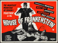 "Movie Posters:Horror, House of Frankenstein (Eros, R-1950s). British Quad (30"" X 40"").Horror.. ..."