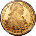 Colombia, Colombia: Charles IV gold 8 Escudos 1806/2 P-JF MS63 NGC,...