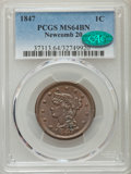 1847 1C N-20, R.3, MS64 Brown PCGS. CAC. PCGS Population: (2/3). NGC Census: (3/3). MS64. Mintage 6,183,669. ...(PCGS# 3...