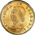 Colombia, Colombia: Republic gold 8 Escudos 1827 BOGOTA-JF AU53 NGC,...