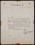 Baseball Collectibles:Others, Casey Stengel Signed Letter....