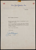 Baseball Collectibles:Others, 1949 Joe DiMaggio Signed New York Yankees Letter....