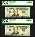 A Selection of Four Low Serial Number Fr. 2096-D $20 2009 Federal Reserve Notes. PCGS Gem New 65PPQ-Gem New 66PPQ