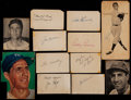 Baseball Collectibles:Others, Yankees Players and Coaching Greats Signed Clippings, Index Cardsand Cuts Lot of 12....