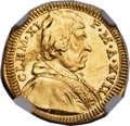 Italy:Papal States, Italy: Papal States. Clemente XI gold 1/2 Scudo d'oro Year 17(1716) MS64 NGC,...
