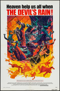 "The Devil's Rain (Bryanston, 1975). One Sheet (27"" X 41""), Lobby Card Set of 8 (11"" X 14""), and Uncu..."