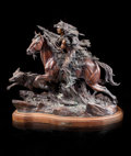 Sculpture, Vic Payne (American, b. 1960). Thunder at Little Big Horn, 1992. Bronze with brown patina. 30 inches (76.2 cm) high on a...