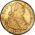 Colombia, Colombia: Ferdinand VII gold 8 Escudos 1819 NR-JF AU58 NGC,...