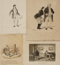Books:Prints & Leaves, [David Claypoole Johnston, artist]. Group of ThreeNineteenth-century Engraved Caricatures by DC Johnston.[1826-1843]. [to... (Total: 4 Items)