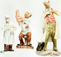 Books:Furniture & Accessories, [Medicine]. Group of Three Ceramic Figurines Depicting Doctors.Various makers and dates.... (Total: 3 Items)