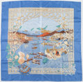 "Luxury Accessories:Accessories, Hermes 90cm Blue & Gold ""Le Fleuve Sacre,"" by Catherine BaschetSilk Scarf. Excellent Condition. 36"" Width x 36""Lengt..."