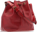 """Luxury Accessories:Accessories, Louis Vuitton Red Epi Leather Noe PM Bag. 10"""" Width x 10"""" Heightx 7.5"""" Depth. Good to Very Good Condition. ..."""