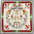 "Luxury Accessories:Accessories, Hermes 90cm Red, Black & White ""Panache et Fantasie,"" by HugoGrygkar Silk Scarf. Very Good Condition. 36"" Width x36""..."