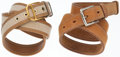 Luxury Accessories:Accessories, Hermes Set of Two; 90cm Toile, Gold Courchevel & GulliverLeather Belt with Gold Hardware and Natural Barenia Leather Beltwit... (Total: 2 Items)