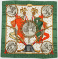 "Luxury Accessories:Accessories, Hermes 90cm Green, Red & White ""Napoleon,"" by Philippe LedouxSilk Scarf. Very Good Condition. 36"" Width x 36""Length..."