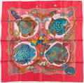 "Luxury Accessories:Accessories, Hermes 90cm Pink & Blue ""Grands Fonds,"" by Annie Faivre SilkScarf. Excellent Condition. 36"" Width x 36"" Length. ..."